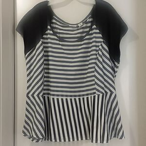 CATO WOMAN blouse black/white stripes 26/28W